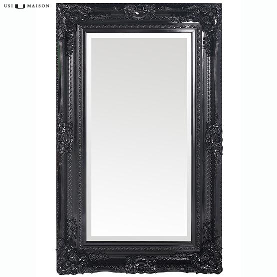 Zwarte Brocante Spiegel.Baroque Bernini Mirror Black White