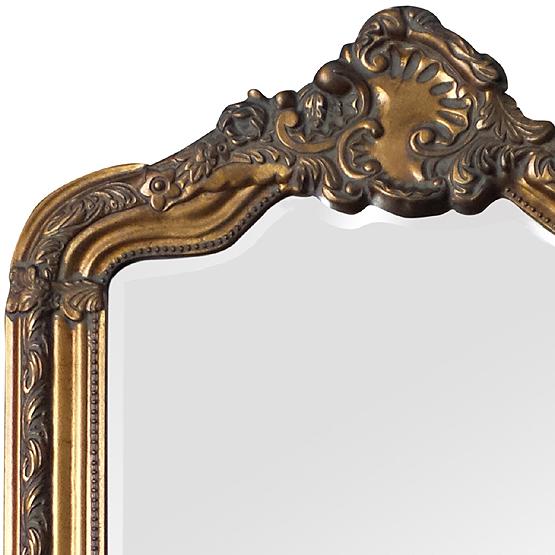 Miroir rocaille or avec crête