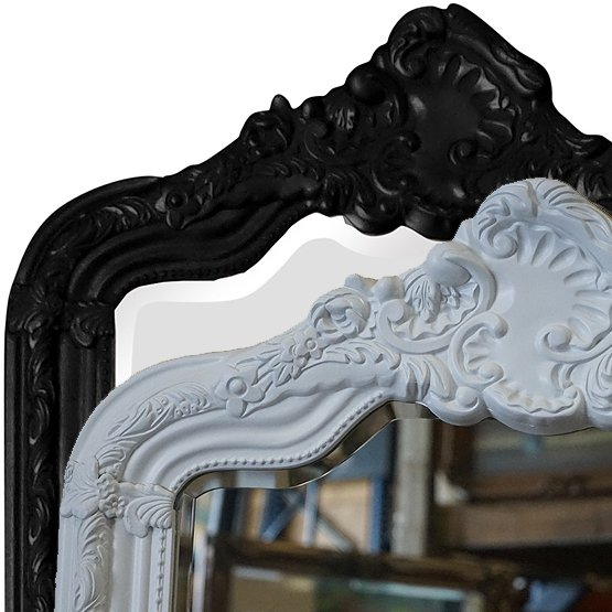 Miroir à crête Rocaille - noir et blanc