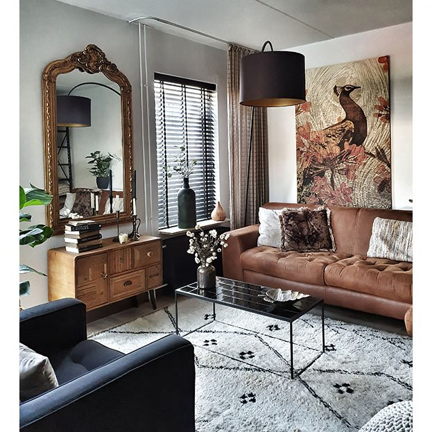 Barok spiegel met kuif antiek goud