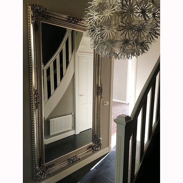 Barok spiegel bernini zilver klassieke spiegels usi maison for Grote barok spiegel