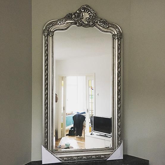 kuif spiegel rocaille licht zilver