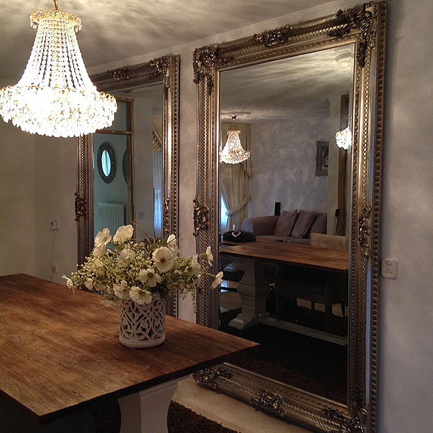 Barok spiegel bernini zilver klassieke spiegels usi maison for Grote zilveren spiegel