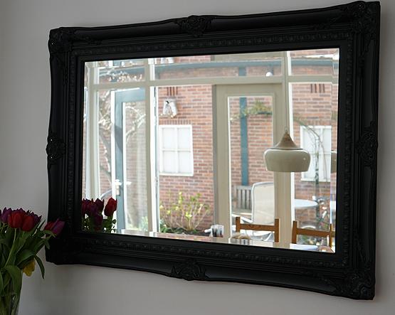 Spiegel Zwarte Lijst : Klassieke spiegel michelangelo zwart wit barokspiegels usi