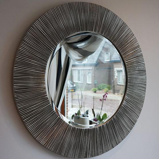 Ronde spiegel guangxi zilver usi maison for Ronde spiegel op maat