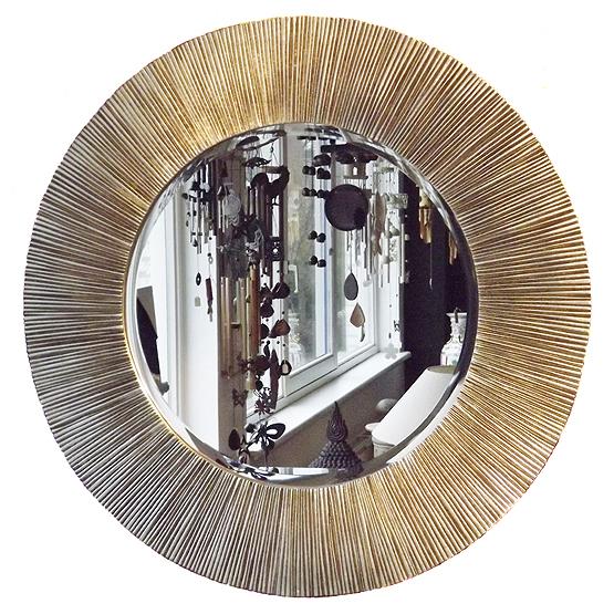 Grote ronde spiegel Guangxi in antiek zilver