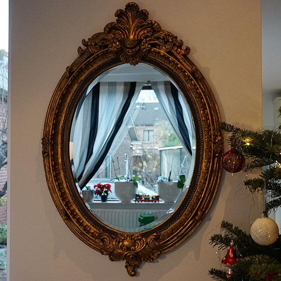 Gouden Spiegel Ovaal.Ovale Barok Spiegel Veronese Goud M