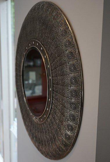 Ronde zilveren oosterse spiegel Jaipur - Usi Maison