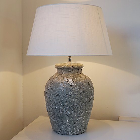 keramiek tafellamp paleum ruw grijs