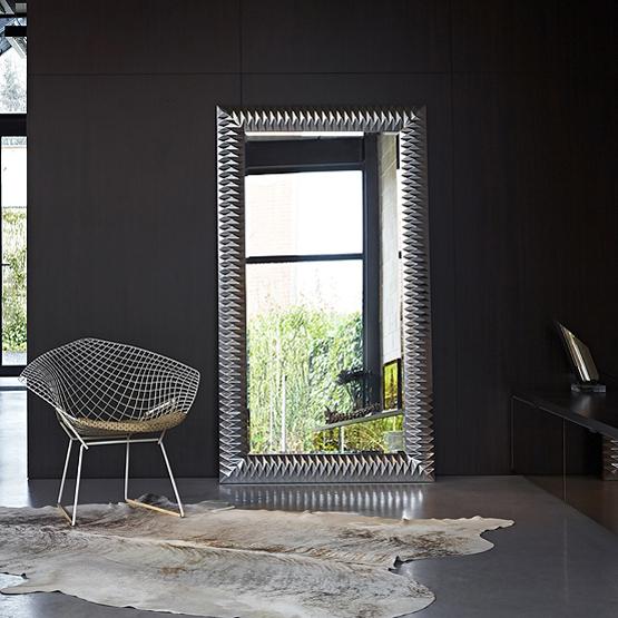 Design spiegel nick zilver usi maison for Grote zilveren spiegel