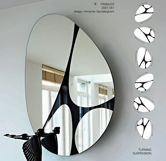 turning suspension pebbles mirror