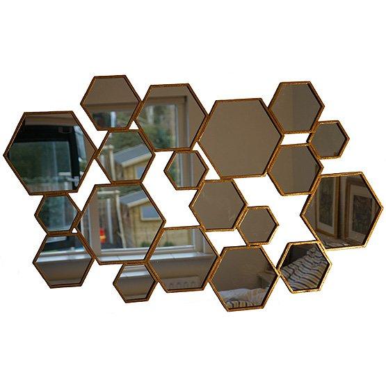Hexagon spiegel met bladgoud bij usi maison - Designer woonkamer spiegel ...