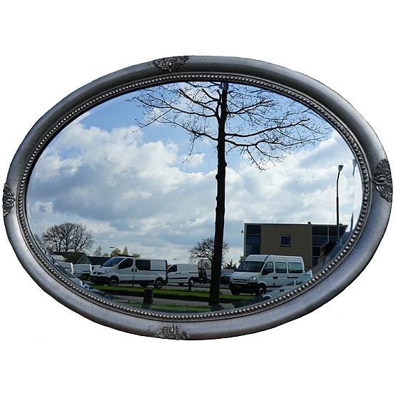 Ovale spiegel millet zilver usi maison for Grote zilveren spiegel