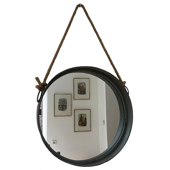 Ronde spiegel detroit grijs usi maison for Ronde spiegel met touw