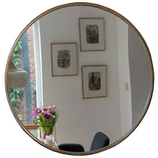 Great prachtige ronde spiegel consetta goud direct for Spiegel rond leer
