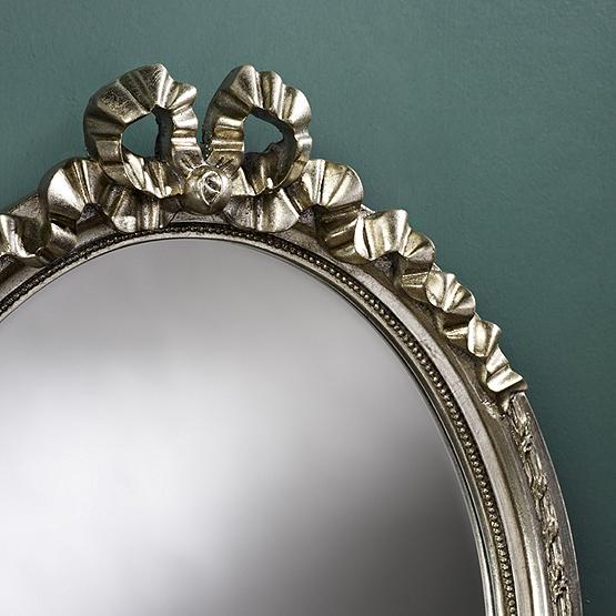 ovale spiegel cosy zilver detail