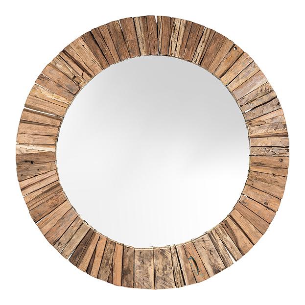 Zeer Ronde spiegel TeakMosaic - in verschillende maten | Usi Maison &AU89