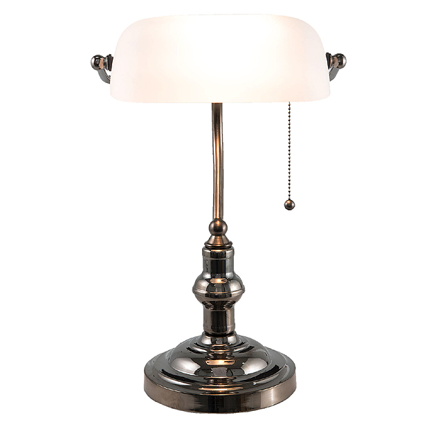 Lampe de banquier cambridge avec abat jour blanc en verre - Lampe de bureau banquier laiton verre vert ...