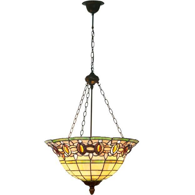Art deco tiffany hanglamp omhoog schijnend
