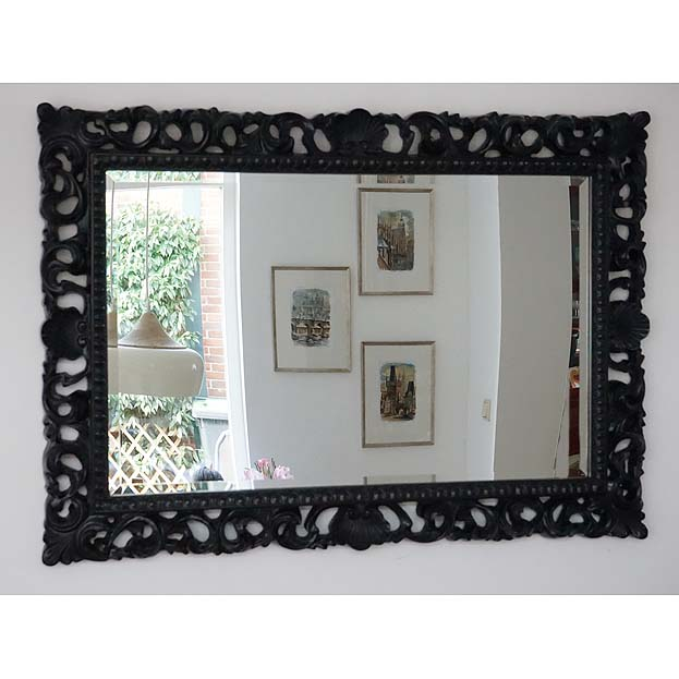 Handgestoken zwarte barok spiegel