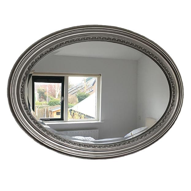 Ovale spiegel Amandine zilver