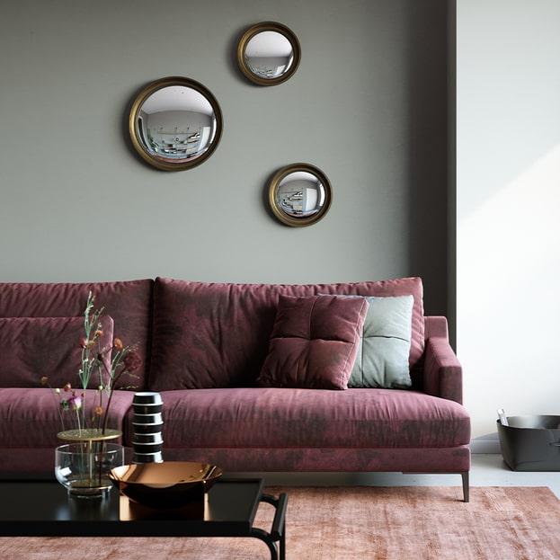 Convex gold ronde spiegel van Deknudt Mirrors bij UsiMaison