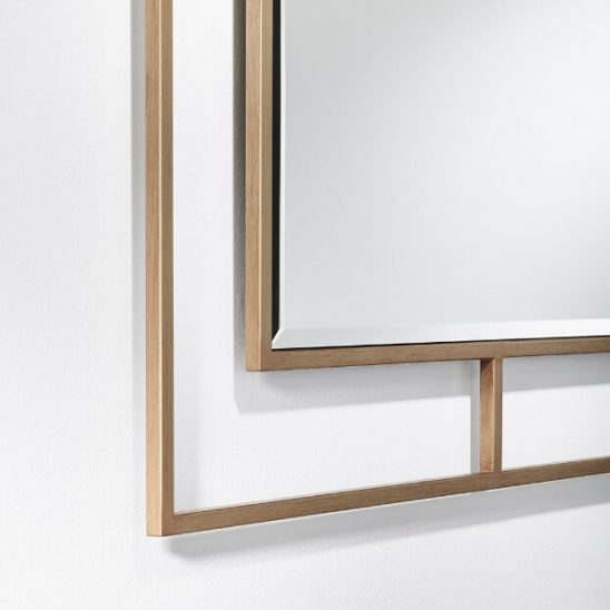 Nico Bronze spiegel, vierkant, bronzen frame, DeKnudt Mirrors, close up foto, detail